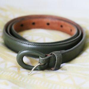 Vintage Talbots Green Leather Skinny Belt Large